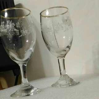 小白花玻璃金邊杯組
