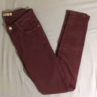 Zara burgundy red skinny jeans