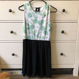 Cheer Up Clothing Green Floral Skater Dress