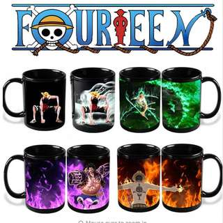 [LIMITED] One Piece Color Change Cup Luffy Zoro Ace Canecas Magic Ceramic Copo Drinkware