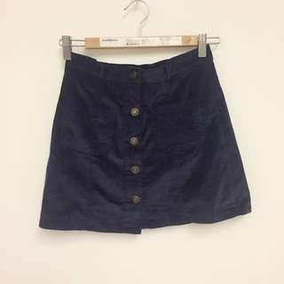 絲絨布排扣短裙(m)