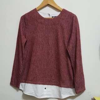 韓系 洒紅色直條長袖假二件式上衣