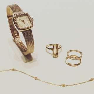 日本知名輕珠寶首飾品牌Agete 阿卡朵 方形金屬錶帶古董錶