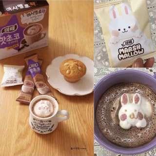 ∥韓妹冬日熱捧!∥ 漂浮兔兔棉花糖可可粉 🐰熱巧克力上的兔子棉花糖!🐰