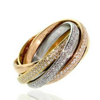 3 tones Full Diamond Ring