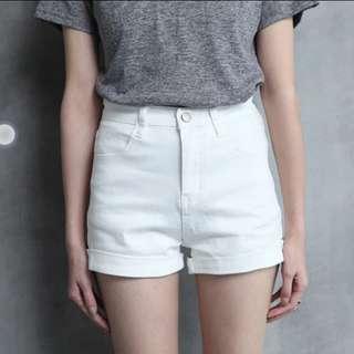 夏季A字緊身彈力顯瘦高腰牛仔短褲女寬鬆卷邊闊腿學生熱褲  白色
