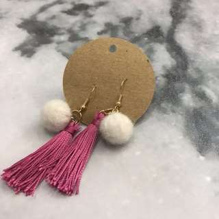 Pink Tassel with pom pom Earrings - handmade