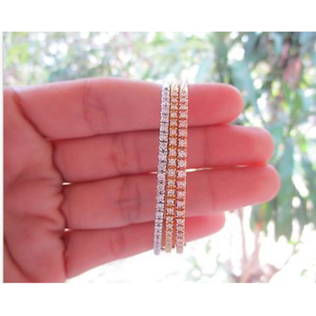 2.16 Carat Diamond Tricolor Bangle Bracelet 18k, Preloved Women\'s ...