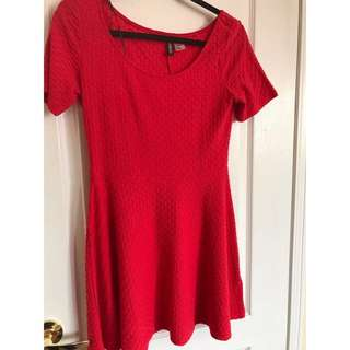 H&M textured red dress