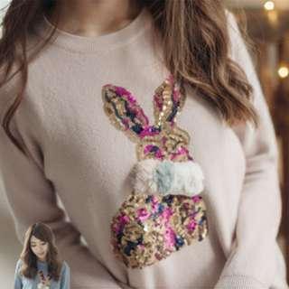 兔子亮片毛球針織上衣