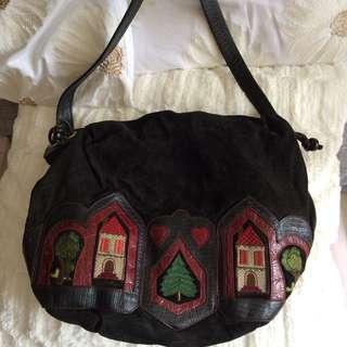 意大利 Braccialini Suede Leather Shoulder Bag
