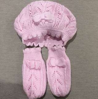 H&M Baby Pink Crocheted Hat & Mittens