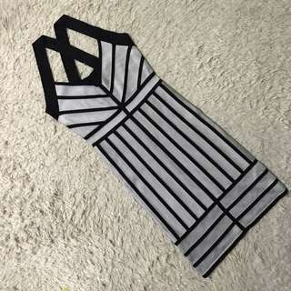 FRENCH CONNECTION silver & Black Stripe Bandage Dress