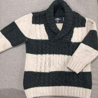 H&M Boy Green & Cream Knitted Sweater
