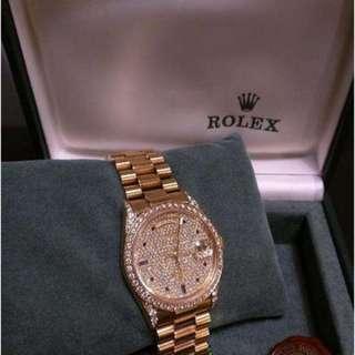 ULTRA RARE! Rolex Yellow Gold Diamond Face and Bezel Sapphire Dial