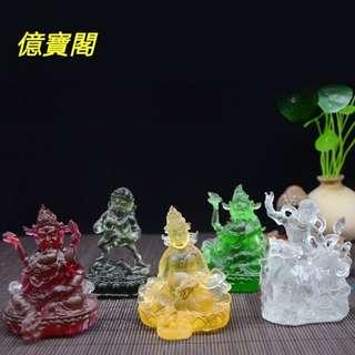 五路财神琉璃佛像 红白绿黑黄财神(一套)古法琉璃脱蜡密宗佛像