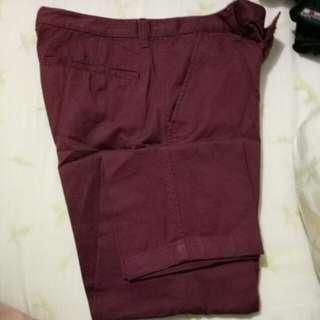 Celana bahan merah giordano