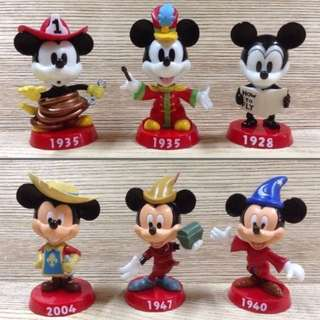 迪士尼 DISNEY MICKEY MOUSE 米奇老鼠 經典造型 彩色版 搖頭公仔 全6款 家居 車箱擺設