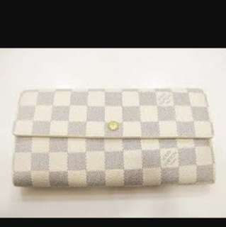 Auth Louis Vuitton Damier Azur Canvas Sarah Wallet Long Zip Bifold White