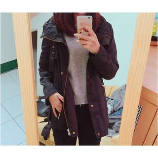 Zara黑色防風外套