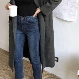 92pleats 11月新品 深藍直筒牛仔褲