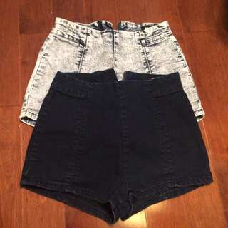 Light & dark washed high waisted shorts