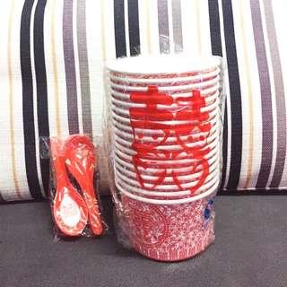 中式婚禮紙湯碗+膠匙羹