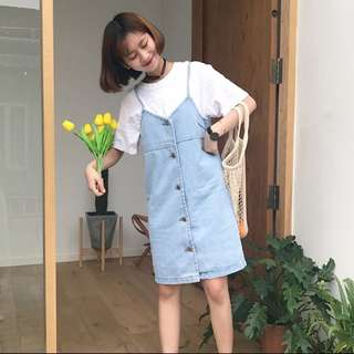 Denim Pinafore Dress/ Overalls/ Slip Dress
