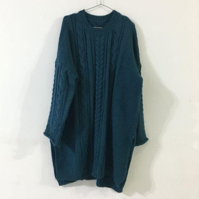 深地中海藍綠毛衣洋裝(原價890)