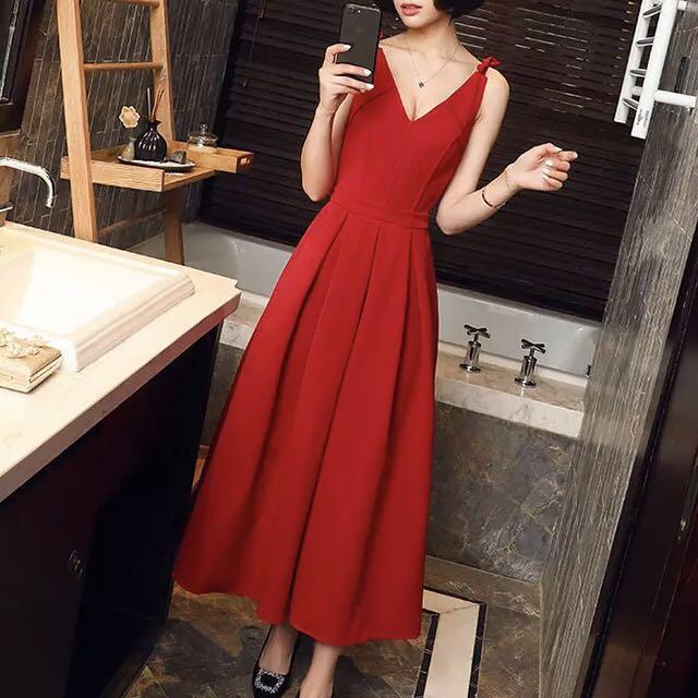紅色長裙洋裝(預定)