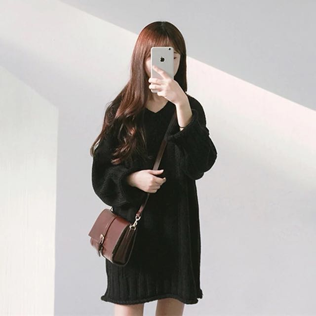 黑色毛衣洋裝