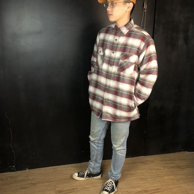 第二件六折*新品紅灰白格紋舖棉厚款襯衫/外套