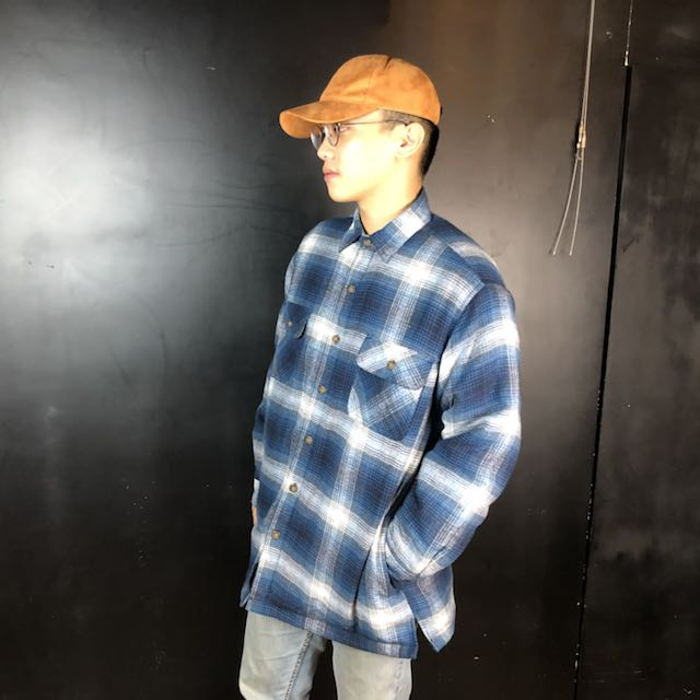 第二件六折*新品藍白漸層格紋舖棉厚款襯衫/外套