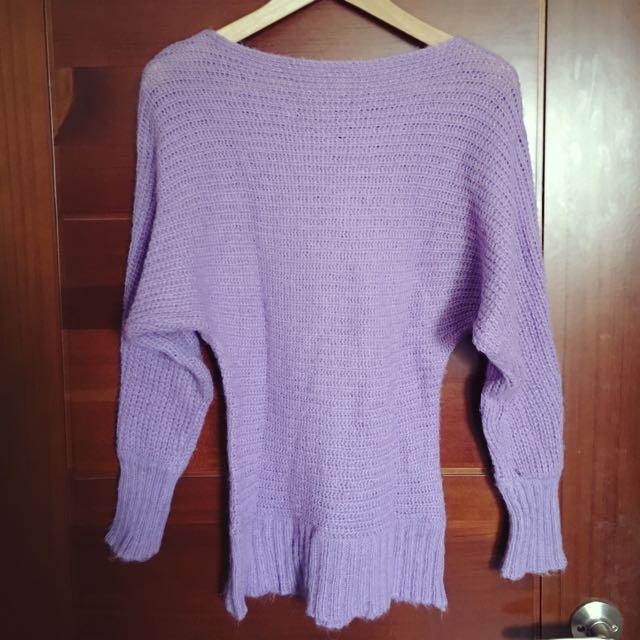 二手浪漫紫色針織上衣(可拉斜肩)