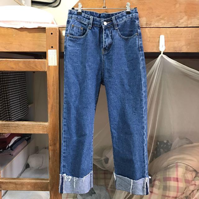 反折直筒牛仔褲