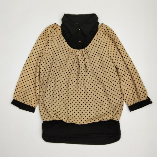米色小黑圓點兩件式七分袖上衣