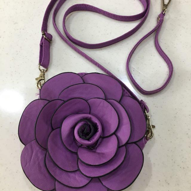 全新紫色小斜背/手拿包