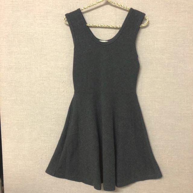 出清特價全新正韓加厚內搭無袖棉洋裝(鐵灰色)