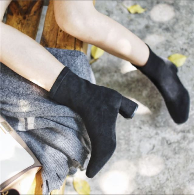 超好穿粗跟襪子襪子靴