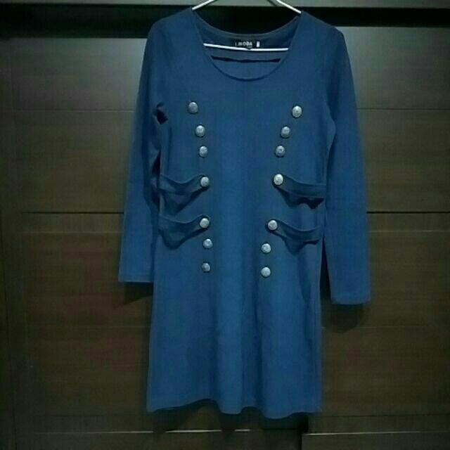 藍紫色長袖小洋裝