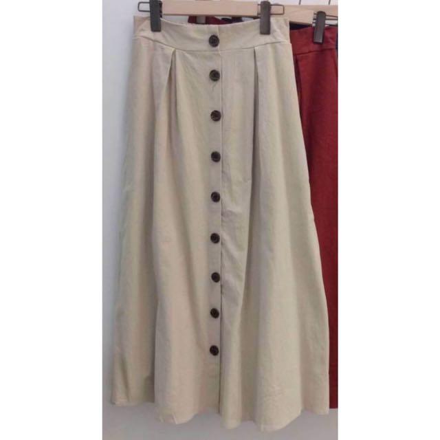 排扣鬆緊帶長裙