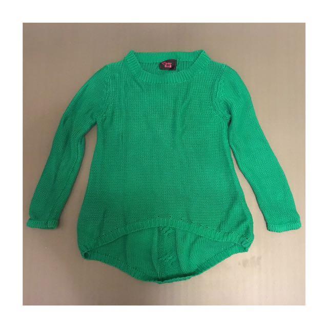 超好看 綠色前短後長毛衣