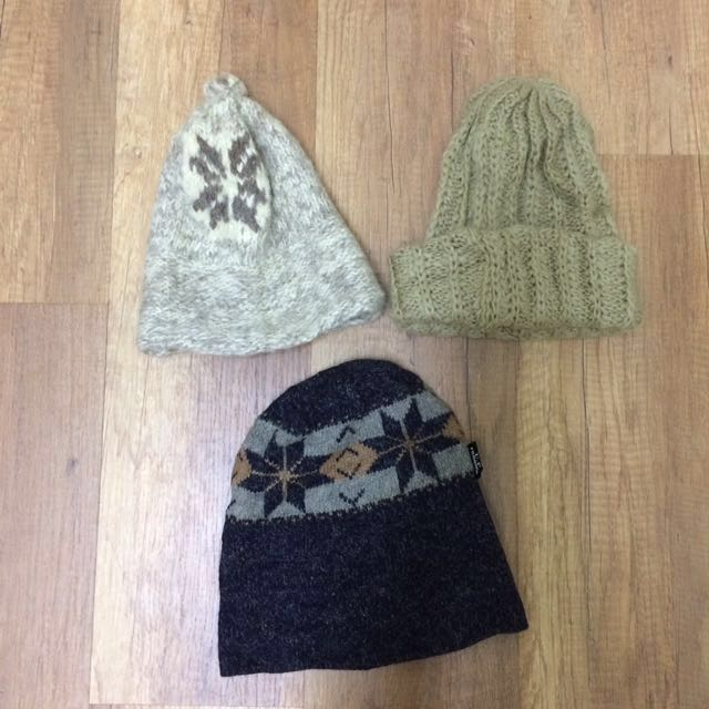 各種保暖毛帽  古著民族風日系森林系文藝下北澤日韓無印圖騰幾何米白深藍素色針織#我的女裝可超取