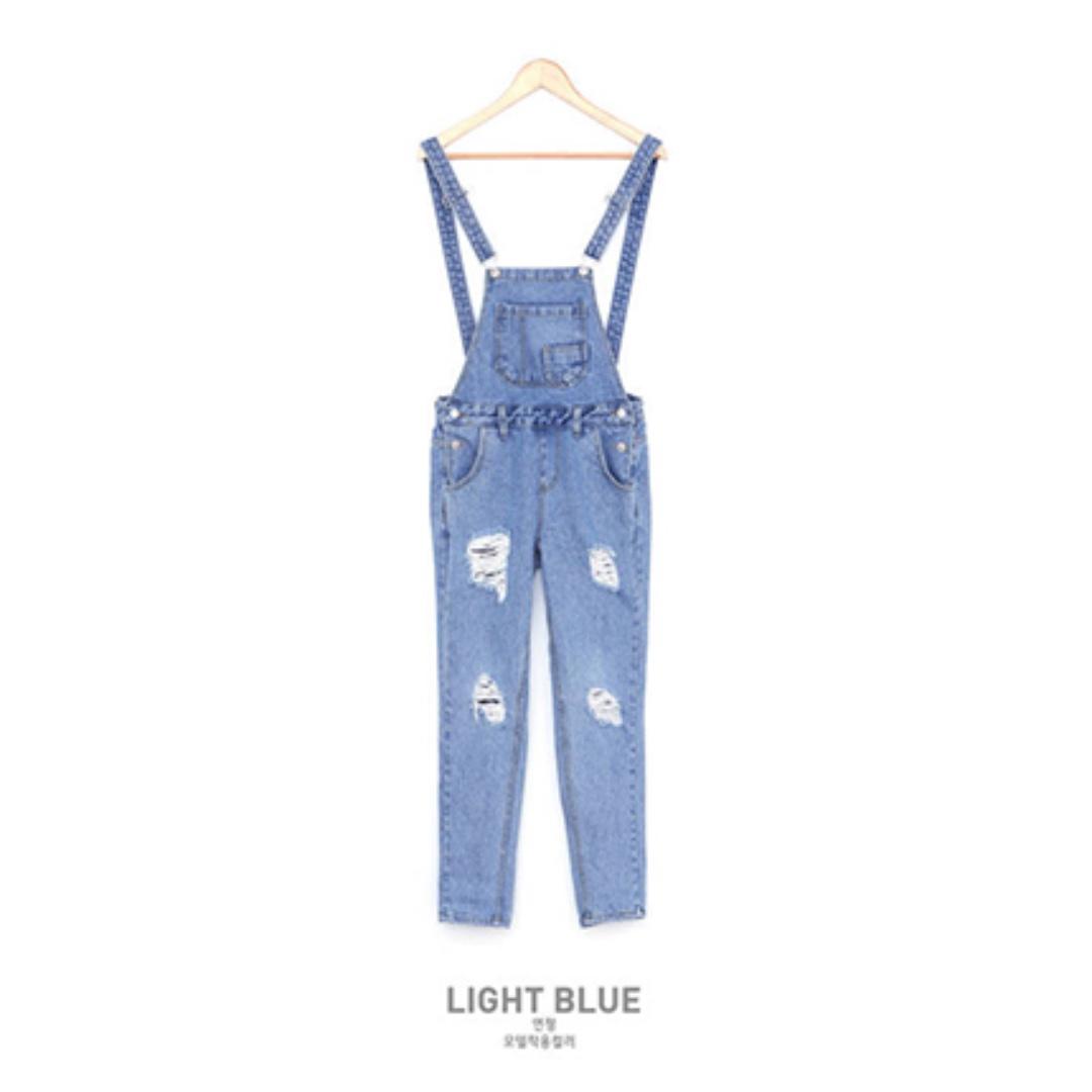 吊帶褲 淺藍