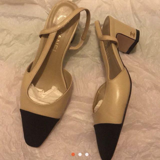 香奈兒 裸色低跟鞋 37