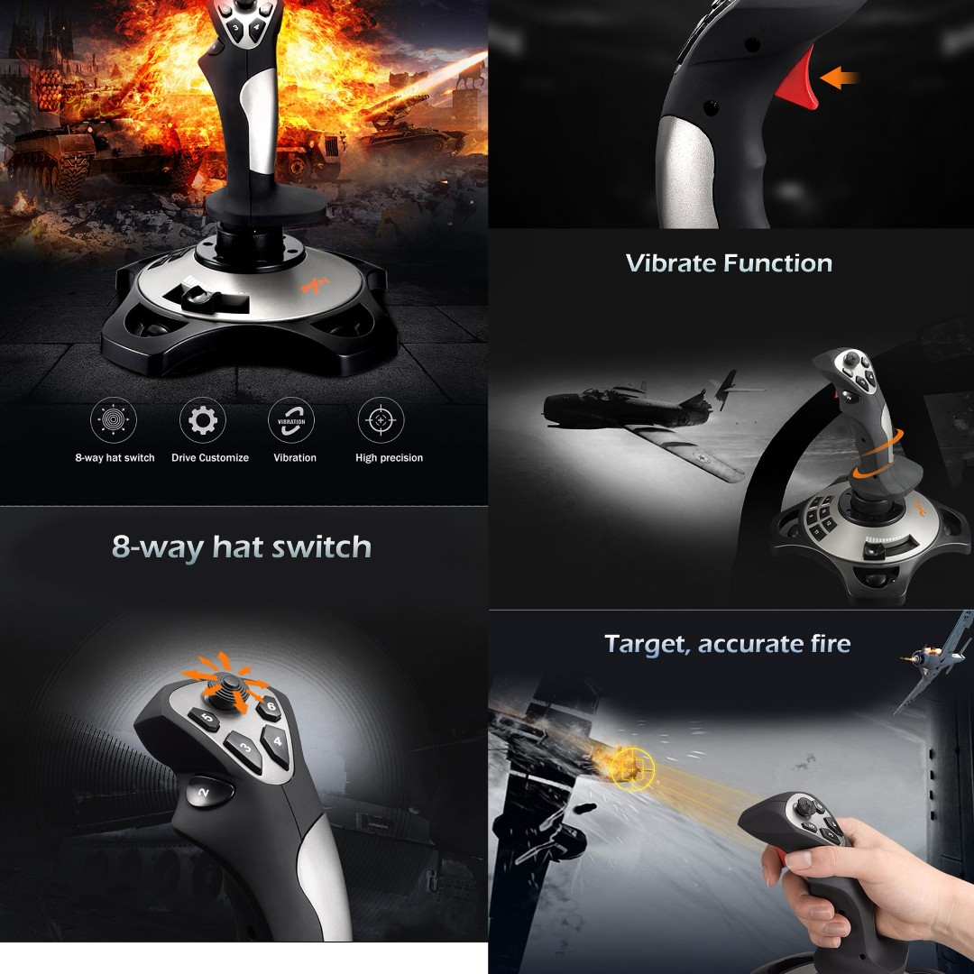 💯 PXN PRO 2113 Wired 4 Axles Flying Game Joystick Simulator Professional
