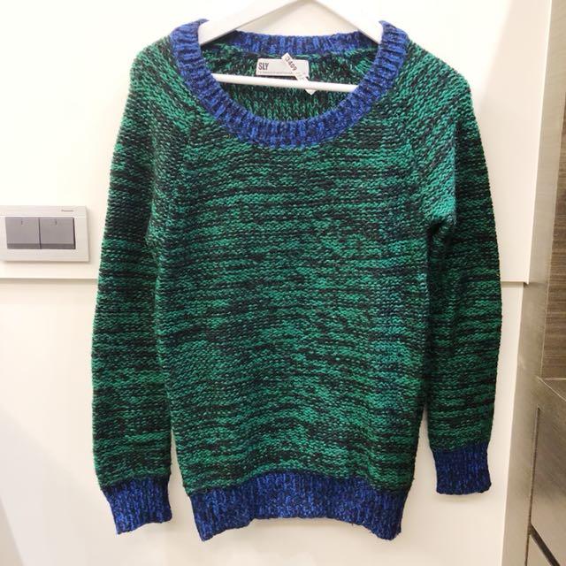 日本 SLY 綠色混織毛料上衣