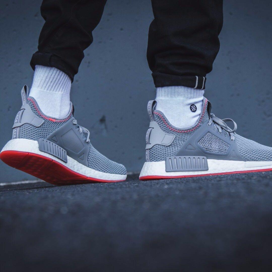 adidas nmd rt grey tre & solar rosso, moda maschile, calzature in