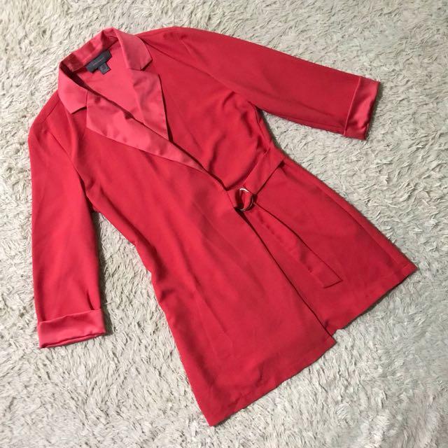 ATMOSPHERE Red Orange Blazer Coat Dress / wrap around