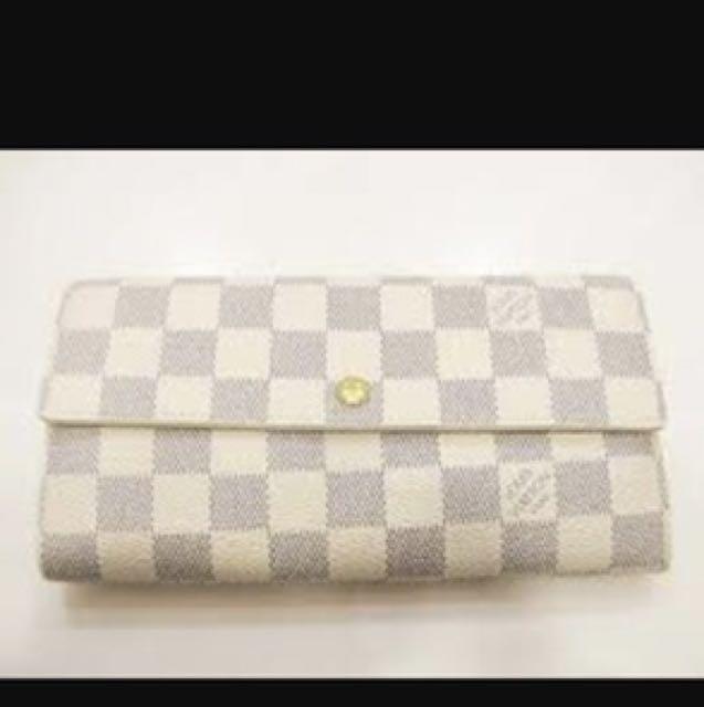 008107a1ec03 Auth Louis Vuitton Damier Azur Canvas Sarah Wallet Long Zip Bifold ...